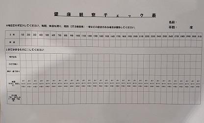 スタッフの検温・体調管理